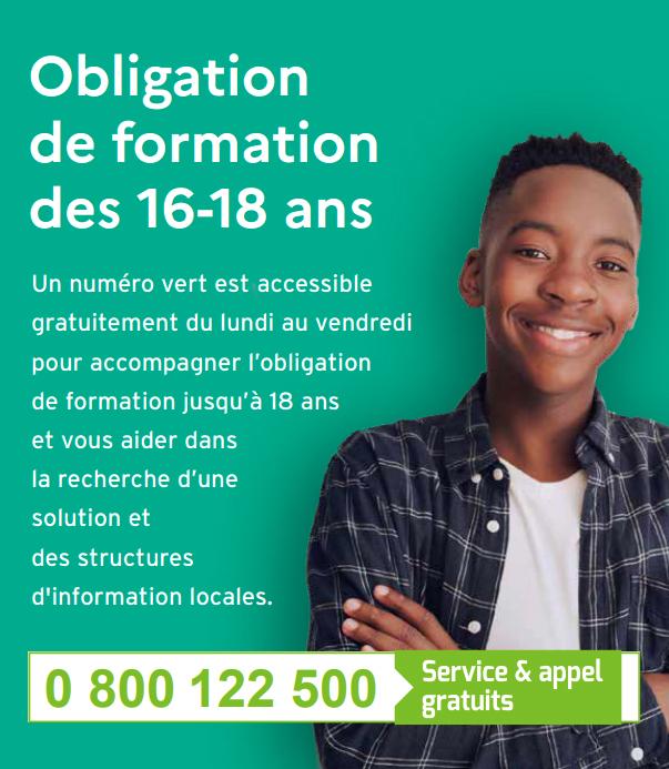 0 800 122 500, un numéro dédié à l'obligation de formation jusqu'à 18 ans.